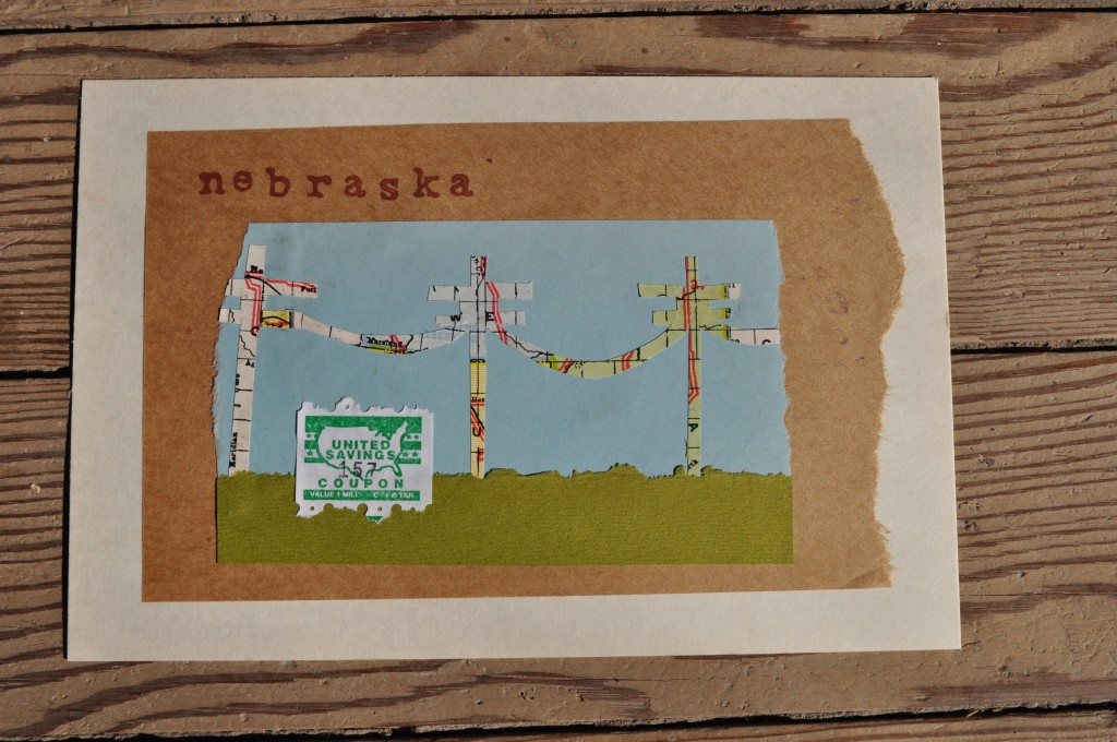 telephone wires, map, nebraska paper art