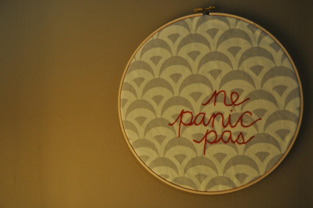 ne panic pas, lindsay zier-vogel, embroidery