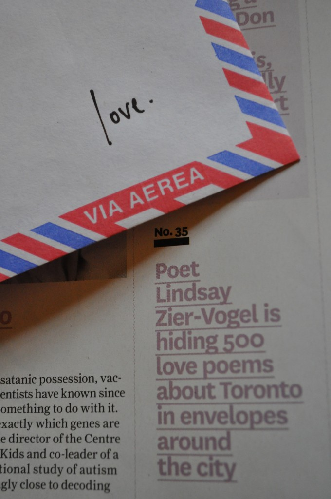 the love lettering project, toronto life magazine, lindsay zier-vogel