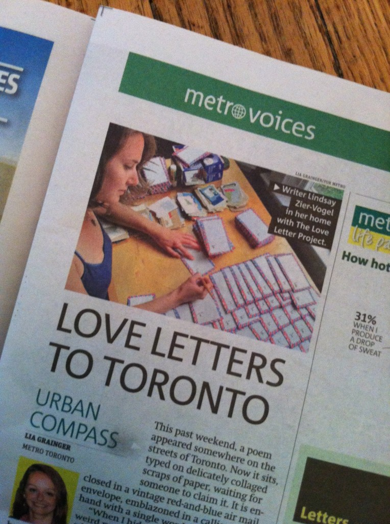 love letters, poem, airmail envelopes, air mail, lindsay zier-vogel, the love lettering project, metro news