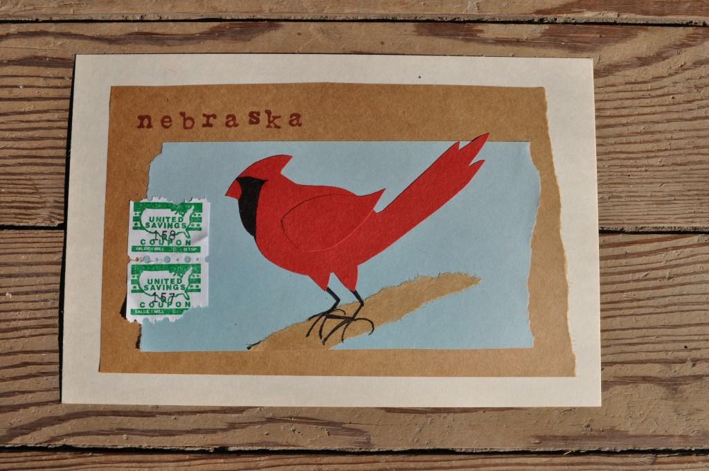 cardinal, nebraska paper art